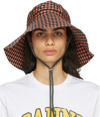 Ganni Orange Check Seersucker Hat