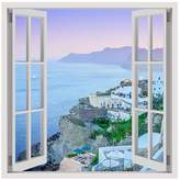 Alonline Art - Santorini Greece Vacation Fake 3D Window PRINT On CANVAS (100% Cotton, UNFRAMED Unmounted) Oil Paintings Prints Canvas For Bedroom Canvas For Home Decor Artwork