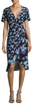 Nanette Lepore Mariposa Short-Sleeve Silk Butterfly Dress, Black