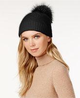 Surell Slouchy Knit Fox Fur Pom Beanie