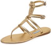 Prada Flat Metallic Thong Gladiator Sandal, Light Gold (Platino)