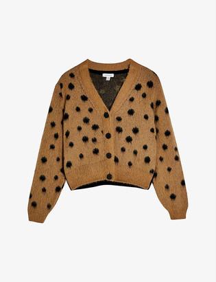 Topshop Polka-dot print cropped woven cardigan