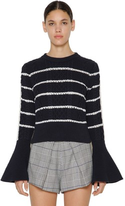 Self-Portrait Ruffled Cotton Knitted Sweater