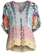 Johnny Was Pizzo Mix-Print Top
