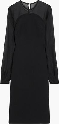 Victoria Beckham Chiffon-paneled Bonded Crepe Dress