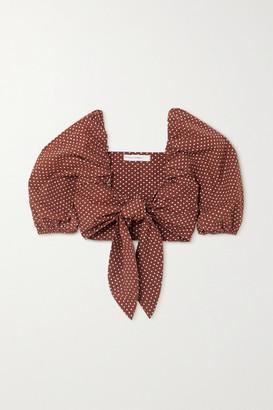 Faithfull The Brand + Net Sustain Raylee Tie-front Polka-dot Cotton-poplin Top - Brown