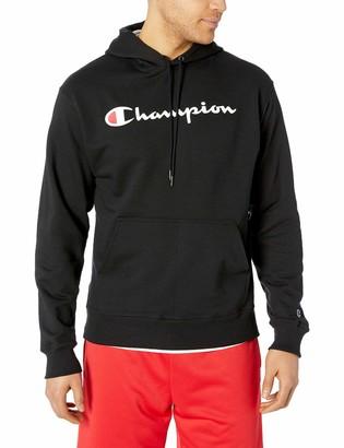 Champion Men's Graphic Powerblend Fleece Hoodie Oxford Grey Script X-Large