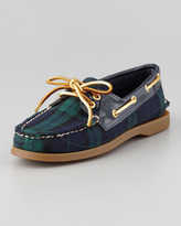 Sperry Authentic Original Plaid Boat Shoe, Navy/Green