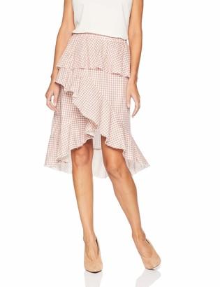 Moon River Women's Fringe Hem Overlap Skirt