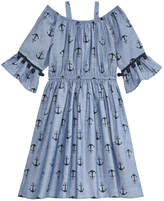 Good Lad Anchor-Print Chambray Cotton Dress, Toddler Girls