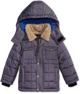 London Fog Hooded Puffer Coat with Faux-Fur Trim, Little Boys (4-7)