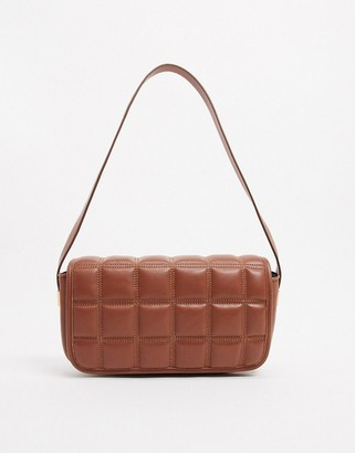 ASOS DESIGN quilted shoulder bag with hardware in brown