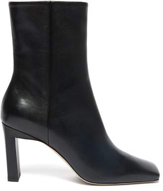 Wandler Isa Square Toe Leather Ankle Boots - Womens - Black