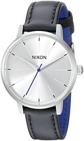 Nixon Women's A1082184 Kensington Stainless Steel Watch with Black Genuine Leather Band