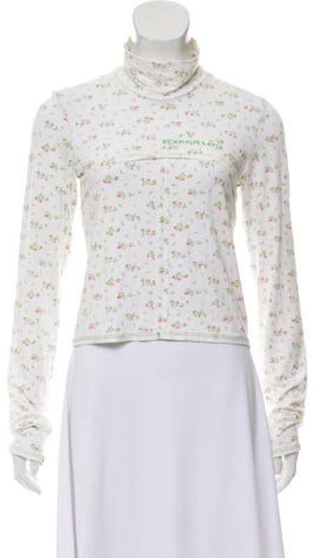 Eckhaus Latta Floral Print Long Sleeve Top Green Floral Print Long Sleeve Top
