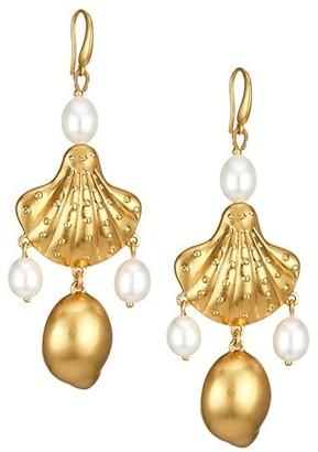 Tory Burch Goldtone Seashell Motif & 8-10MM Freshwater Pearl Drop Earrings