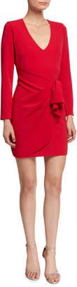 Parker Black Aggie V-Neck Long-Sleeve Faux-Wrap Dress w/ Flounce Detail