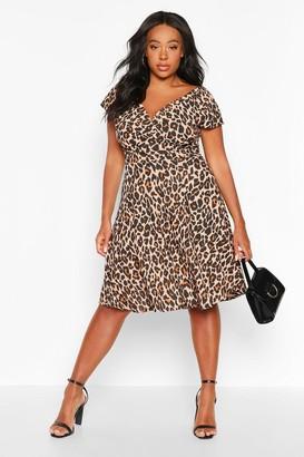 boohoo Plus Curve Leopard Off-Shoulder Wrap Midi Skater Dress