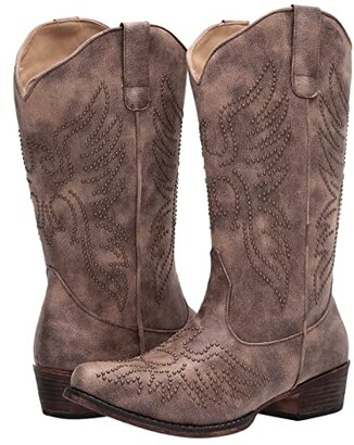 Roper Eaglets (Tan Faux Leather) Cowboy Boots