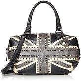 MG Collection Union Jack Studded Bowler Tote Bag