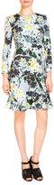 Erdem Judy Long-Sleeve Flounce-Hem Dress, Light Blue/Multi