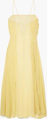Acne Studios Delila Button-detailed Silk-chiffon And Crepe De Chine Midi Dress