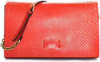 Calvin Klein Red Leather Chain Clutch, Nwt