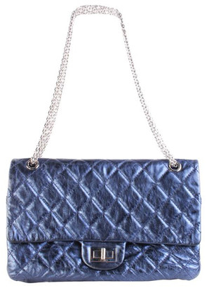 Chanel Metallic Navy Blue Quilted Leather Reissue 2.55 Classic Flap Bag