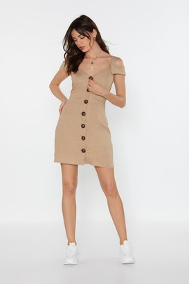 Nasty Gal Womens Never Let Me Button-Down Cold Shoulder Mini Dress - Beige