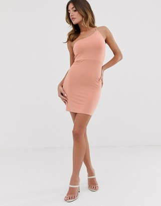 Asos Design DESIGN going out one shoulder bodycon mini dress-Pink