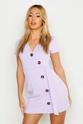 boohoo Petite Horn Button Belted Wrap Dress