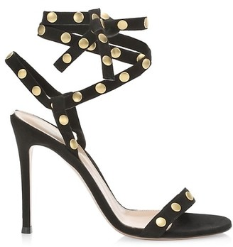 Gianvito Rossi Ankle-Wrap Studded Suede Sandals