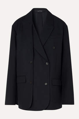 Rokh Layered Double-breasted Twill Blazer - Navy