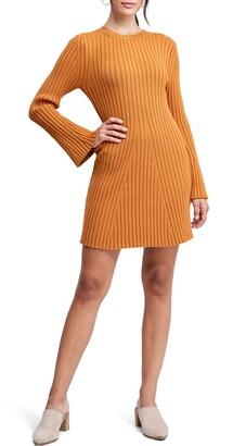 En Saison Ribbed Long Sleeve Sweater Dress