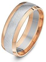 Theia Two Colours 9ct White and Rose Gold Court Shape Matt Centre 7mm Wedding Ring - Size S