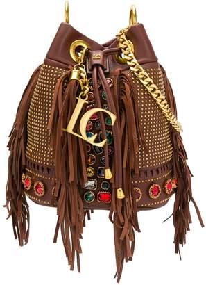 La Carrie rhinestone-embellished fringed bucket bag