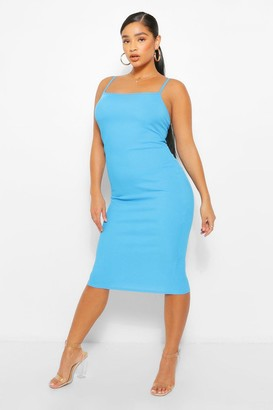 boohoo Plus Rib Square Neck Midi Dress
