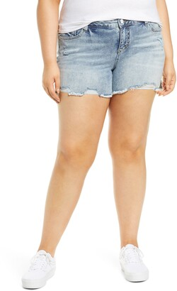 SLINK Jeans Easy Fit Distressed Frayed Hem Denim Shorts