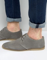 Asos Desert Shoes in Gray Suede With Piped Edging