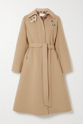 Chloé Embellished Belted Virgin Wool And Cashmere-blend Coat - Beige