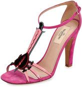 Valentino Garavani Love Blade T-Strap 105mm Sandal, Pink