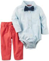 Carter's 3-Pc. Bowtie, Gingham Shirt Bodysuit & Twill Pants Set, Baby Boys (0-24 months)