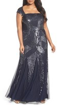 Adrianna Papell Plus Size Women's Beaded A-Line Gown