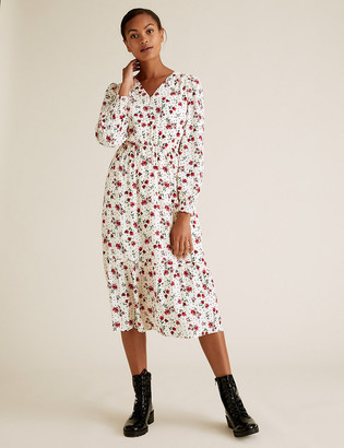 Marks and Spencer Floral Button Detail Midi Waisted Dress