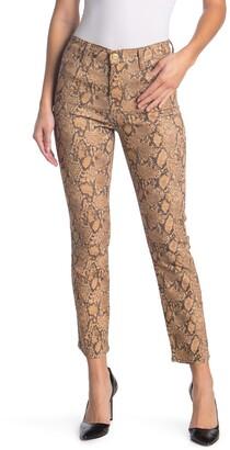 Frame Le High Coated Python Print Straight Jeans