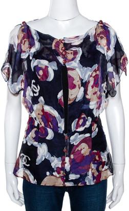 Chanel Navy Blue Floral Print Silk Back Cutout Detail Sheer Blouse L