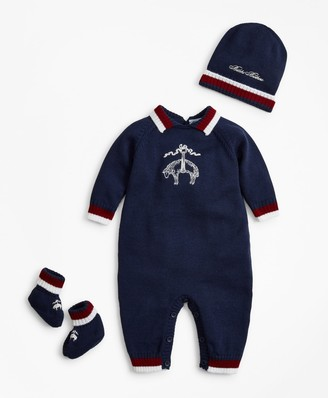 Brooks Brothers Boys Knit Wool Bodysuit, Hat & Booties Set - 3 Months