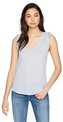 Michael Stars Women's Gingham Gauze v-Neck Tank with Shoulder Ties