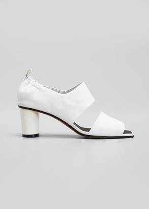 Gray Matters Micol Soft Leather Peep-Toe Sandals, White