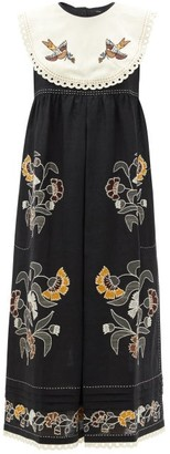 Vita Kin - Heavenly Swallows Embroidered Linen Midi Dress - Black Multi